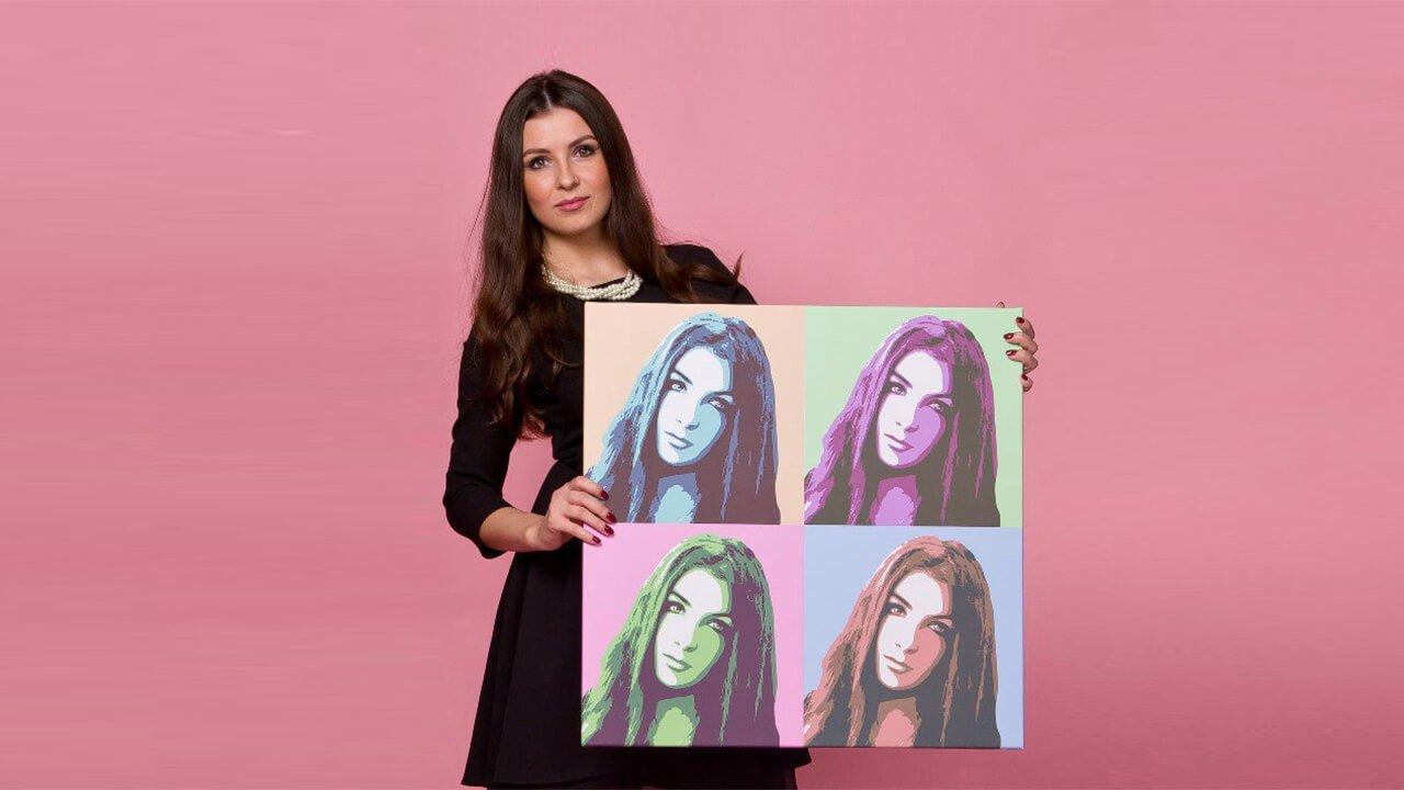 Печать портретов на холсте в стиле Поп Арт