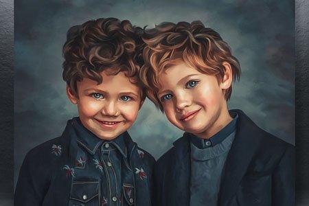 Портрет в стиле Digital Art На холсте